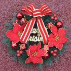 Christmas Decoration Wreath 30cm Christmas Wreath Door Hanging Christmas Ring PVC Christmas Garland Red system 30CM