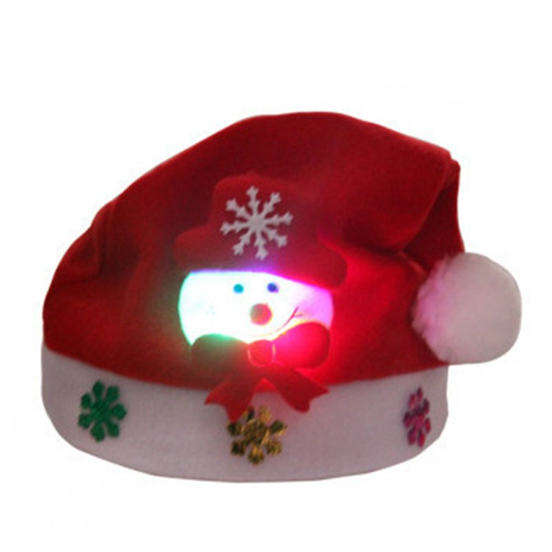 Christmas Decorations Gift Cartoon Light Shiny Hats Cap Old Man Snowman for Adult and Kids snowman-kids