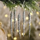 Christmas Decorations Icicle Pendant Christmas Tree Decoration Silver_5pcs
