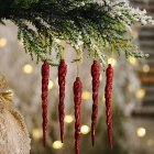 Christmas Decorations Icicle Pendant Christmas Tree Decoration red_5pcs