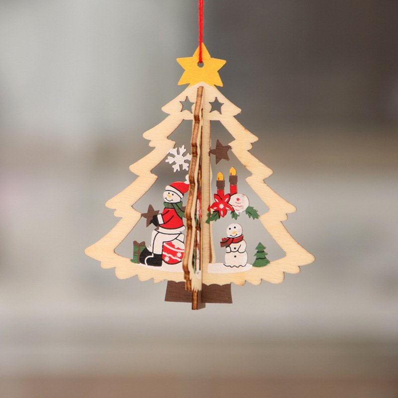 Christmas Decorations Wooden Christmas Hollow Christmas Tree Small Pendant Wooden Five-Pointed Star Bell Pendant Gifts Three-dimensional tree snowman