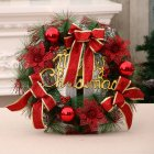 Christmas Door Decoration Hotel Restaurant Simulation Christmas Wreath Garland  Mall Decor 40cm red