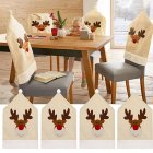 Christmas Elk Pattern Chair Cover Chair Back Cover Xmas Christmas Decoration for Home Party