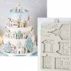 Christmas Gingerbread House Shape Silicone Mold for Fondant Cake Chocolate Decorating Tool gray