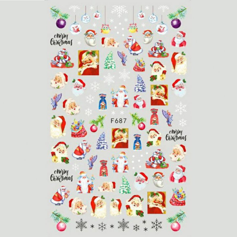 Christmas Halloween Adhesive 3d Nail Sticker Foil For Nails Art Decoration Cartoon Designs Nail Decals F687