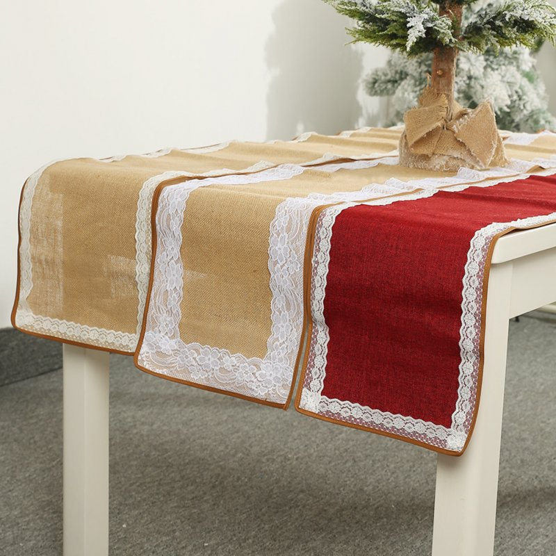 Christmas Lace Table Runner Flag Wedding Party Dining Tablecloth Xmas Home Decor Narrow lace red