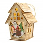Christmas New Assembled Wooden Xmas Light Colorful Cabin Decoration Ornaments double layer L-Santa Claus