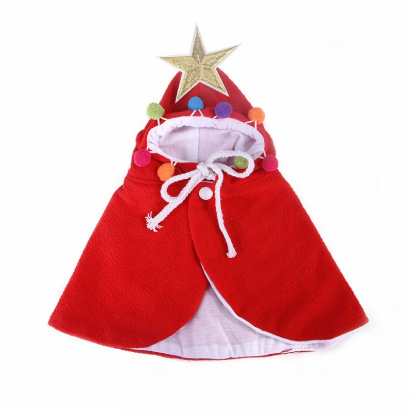 Christmas Pet Cat Dog Cloak Funny Dog Cat Costume Halloween Cat Clothing Cape Cute Christmas Clothes red_S