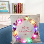 Christmas Pillow Cover with LED Lights Luminescent Cushion Covers Pillowcase for Christmas Supplies(without Pillow Inner)