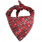 Christmas Plaid Snowflower Printing Pet Scarf Triangular Bibs for Dogs Cats Red and green snowflakes_S