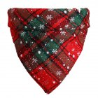 Christmas Plaid Snowflower Printing Pet Scarf Triangular Bibs for Dogs Cats Red and green snowflakes_L