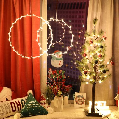 Christmas Round Ring String Light Home Window Hanging Pendant Xmas Tree Decoration 35 Cm Diameter Christmas Hanging Ring Battery
