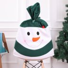 Christmas Snowman Chair Cover Dinner Table Party Red Hat Chair Back Covers Xmas New Year Decoration for Home blackish green snowman chair cover