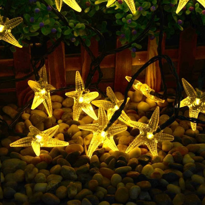 Christmas Solar Outdoor Waterproof String Lamp 30LED Starfish Color Lamps 6.5 m 30 lights - warm white
