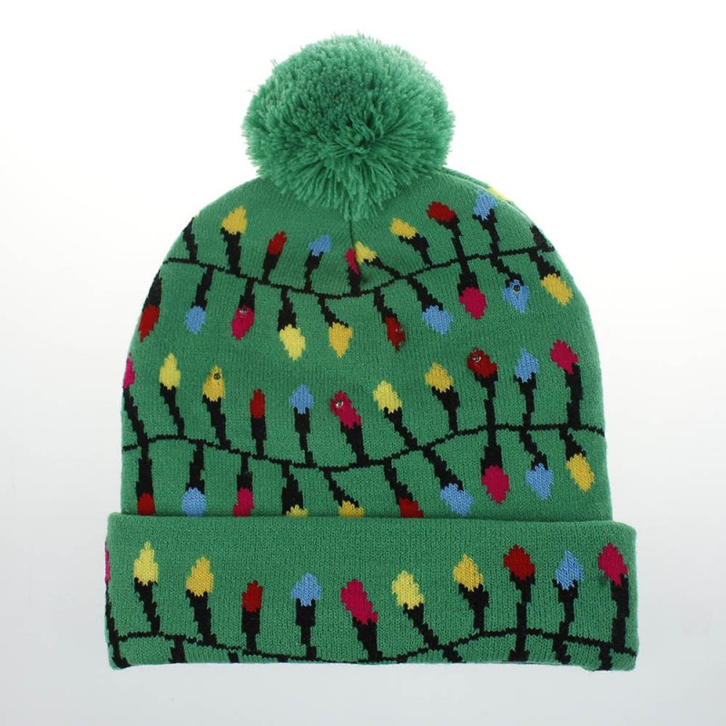 Christmas Style Knitted Hat with Pompon Decor for Kids Adults Gifts Elastic Hats Green light string_Average size