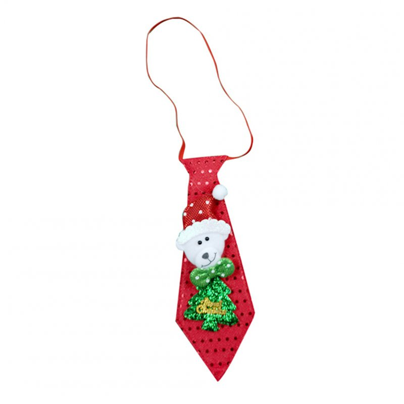 Christmas Tie LED Glow Santa Claus Snowman Elk Bear Sequins Cute Necktie for Children Adult Glow bear
