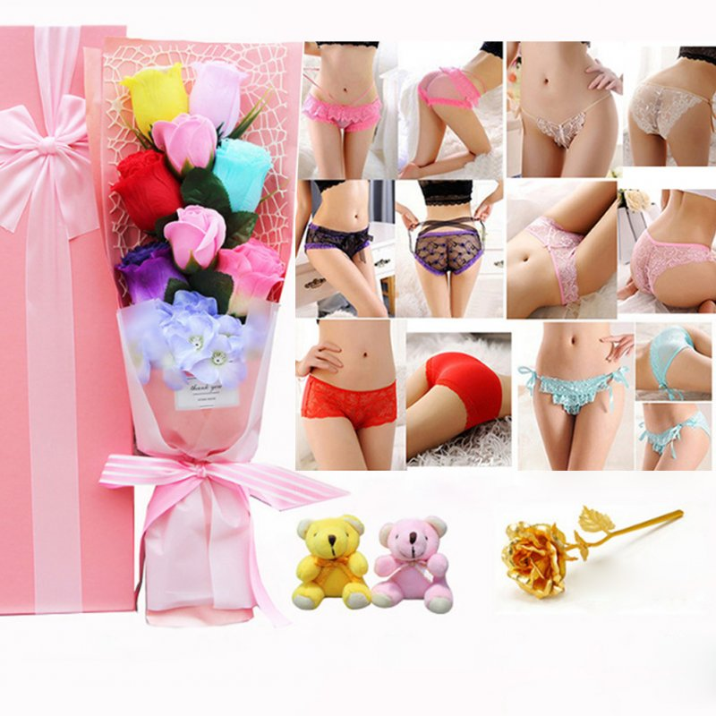 Christmas Valentine's Day Surprise Gift for Wife Girlfriend Birthday Gift Rose Underwear Bouquet Gift Box 6 color bouquet + 2 bear powder box (90-105 kg)