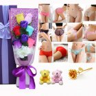 Christmas Valentine's Day Surprise Gift for Wife Girlfriend Birthday Gift Rose Underwear Bouquet Gift Box 6-color bouquet + 2 bear purple box (90-105 kg)