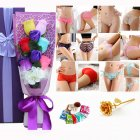 Christmas Valentine's Day Surprise Gift for Wife Girlfriend Birthday Gift Rose Underwear Bouquet Gift Box 6-color bouquet + 3 sets of purple boxes (90-105 kg)