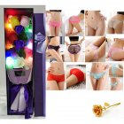 Christmas Valentine's Day Surprise Gift for Wife Girlfriend Birthday Gift Rose Underwear Bouquet Gift Box Add light-own 2 AA batteries (90-105 kg)