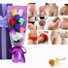 Christmas Valentine's Day Surprise Gift for Wife Girlfriend Birthday Gift Rose Underwear Bouquet Gift Box 6-color bouquet purple box (90-105 kg)
