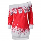 Christmas Women Off Shoulder Dress Fashionable Casual Long Sleeve Santa Dress