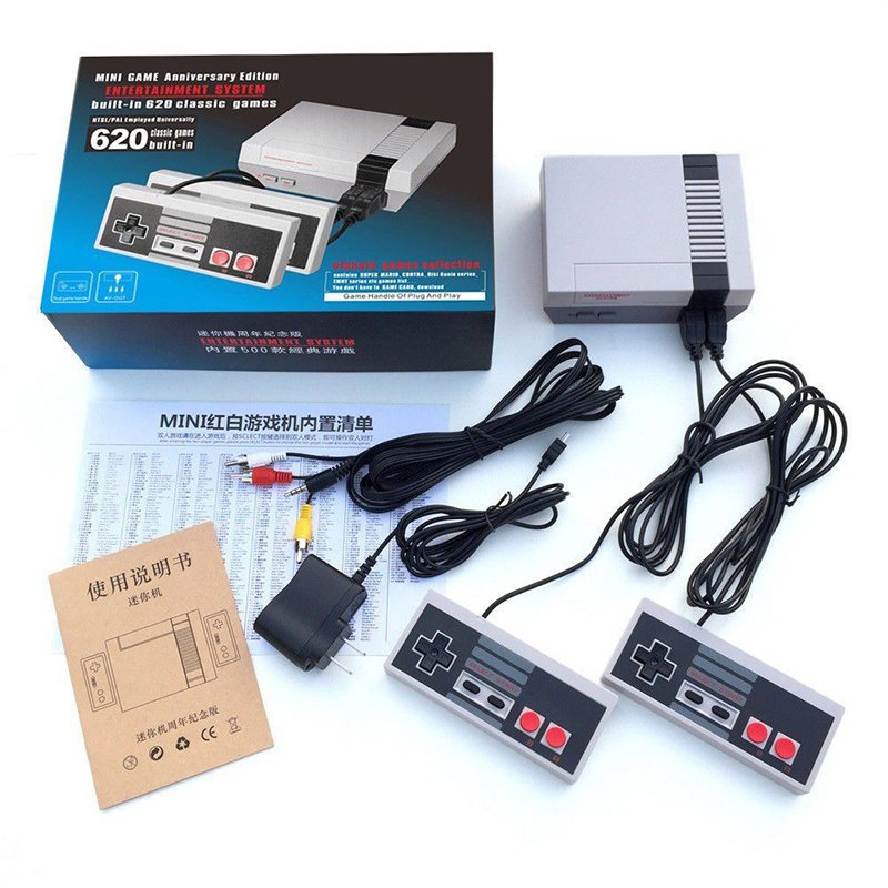 [US Direct] Classic Mini Game Consoles Built-in 620 TV Video Game With Dual Controllers European regulations