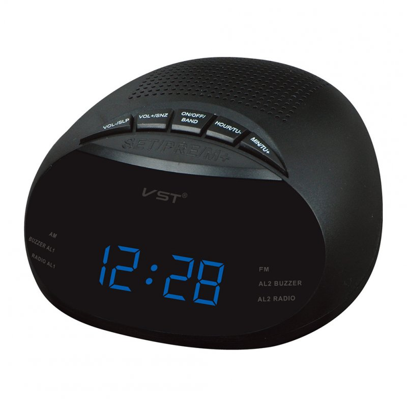 Clock-Controlled LED Alarm Clock with Radio & Snooze Function Gift Decoration European Specification 13.5 * 6.5 * 13.5CM  blue
