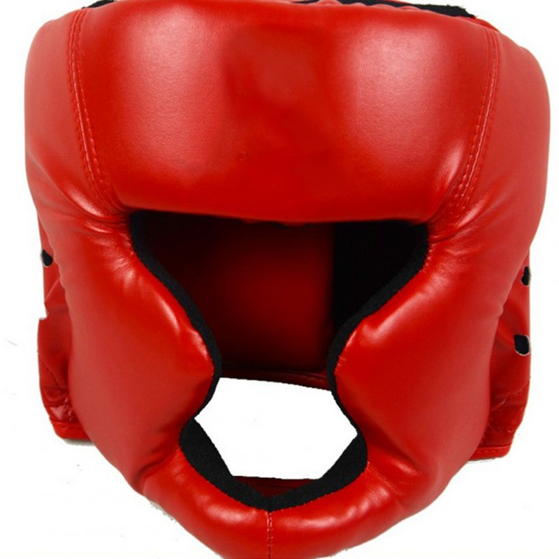 Closed Full-Face Boxing Protection Gear Headgear Head Guard Trainning Helmet for Muay Thai Kickboxing red