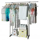 Clothes Hanger Coat Rack Dual Pole Storage Wardrobe Metal Clothing Drying Rack Silver