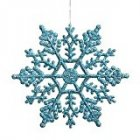 Club Pack of 24 Turquoise Blue Glitter Snowflake Christmas Ornaments 4`
