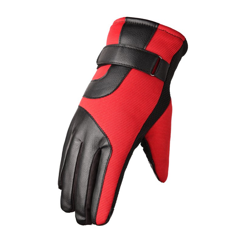 Cold-proof Motorcycle Gloves Anti Slip Winter Reflective Windproof Gloves Cycling Fluff Warm Gloves For Touchscreen red_M