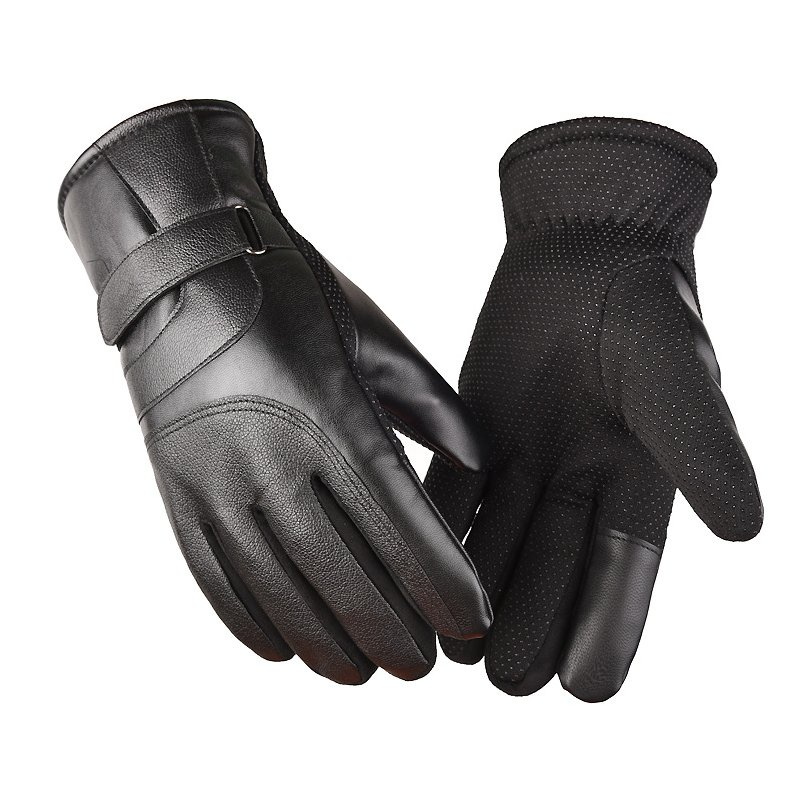 Cold-proof Motorcycle Gloves Anti Slip Winter Reflective Windproof Gloves Cycling Fluff Warm Gloves For Touchscreen Full leather black_M