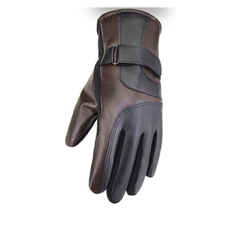 Cold-proof Motorcycle Gloves Anti Slip Winter Reflective Windproof Gloves Cycling Fluff Warm Gloves For Touchscreen Full leather brown_L
