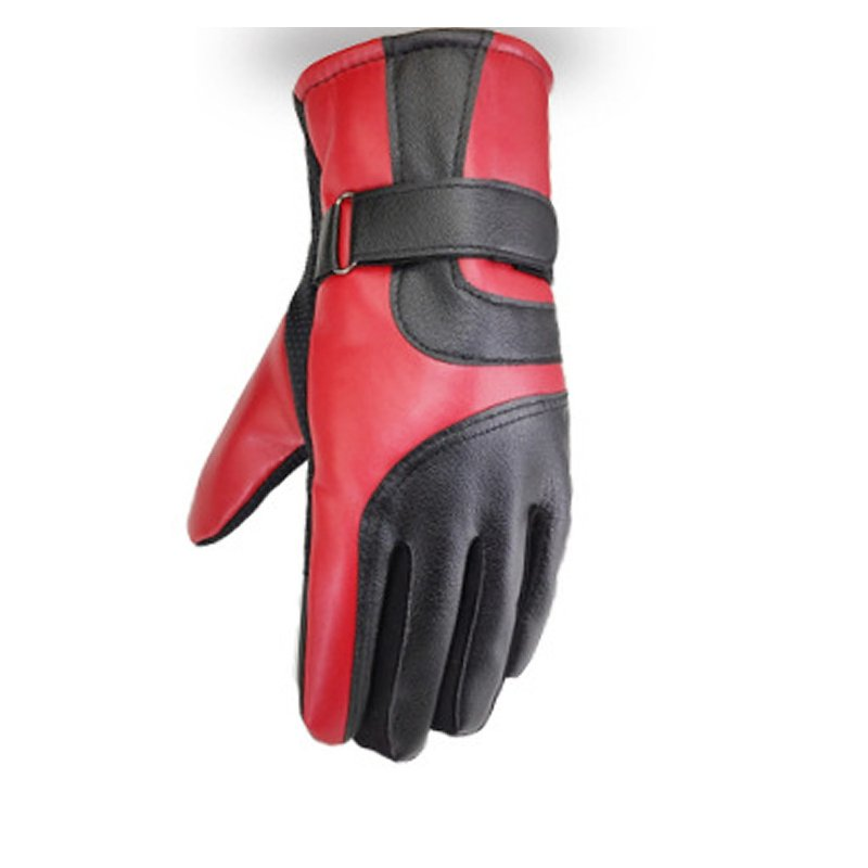Cold-proof Motorcycle Gloves Anti Slip Winter Reflective Windproof Gloves Cycling Fluff Warm Gloves For Touchscreen Full leather red_M