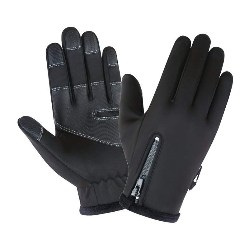 Cold-proof Ski Gloves Waterproof Windproof Anti Slip Winter Gloves Cycling Fluff Warm Gloves For Touchscreen black_L