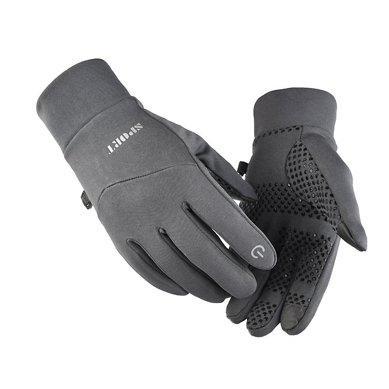 Cold-proof Ski Gloves Anti Slip Winter Waterproof Windproof Gloves Cycling Fluff Warm Gloves For Touchscreen gray_M