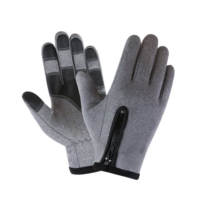 Cold-proof Ski Gloves Waterproof Windproof Anti Slip Winter Gloves Cycling Fluff Warm Gloves For Touchscreen gray_XL