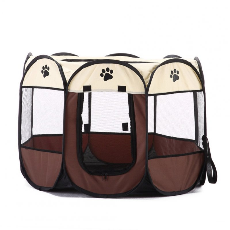 Collapsible Pet Octagonal Tent Pet Octagonal Fence Oxford Cloth Pet Octagonal Cage Cat Dog Cage Pet   coffee_S