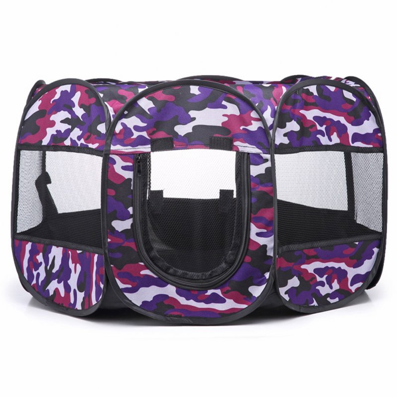 Collapsible Pet Octagonal Tent Pet Octagonal Fence Oxford Cloth Pet Octagonal Cage Cat Dog Cage Pet   Purple camouflage_S