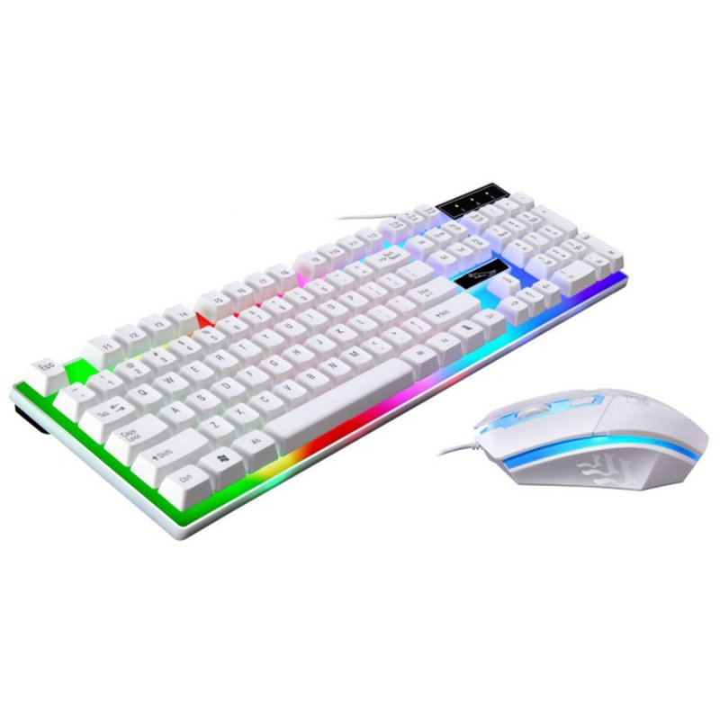 Colorful Backlit Standard Keyboard 104 keys USB Ergonomic Gaming Keyboards and Mouse Combos  white