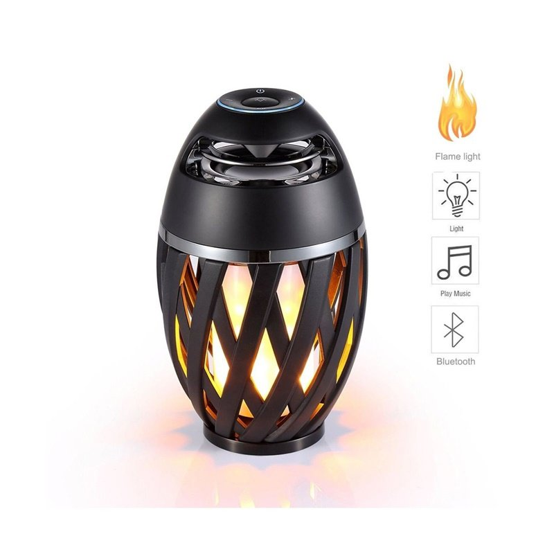 Colourful LED Flame Bluetooth Speakers with HD Audio and Enhanced Bass black