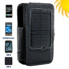 Combo leather style phone holder with solar charger  Holds   charges an iPhone and many other cell phones