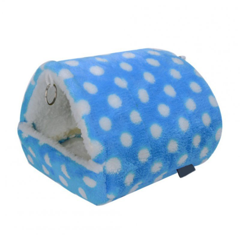 Comfortable Pet Hamster Warm Bed Hammock Cushion Mat for Pet Rabbit Guinea Pig Rat Squirrel Mice Light blue_L: Bottom length: Approx. 13*14cm