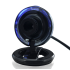 Compact USB webcam with 2 megapixel image sensor and cool blue LED light for video chatting  broadcasting and recording