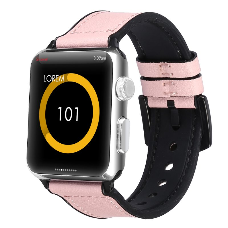 Compatible with Apple Watch Band 42mm 44mm Leather Band Replacement Compatible with Apple Watch Series 4 Series 3 Series 2 Series 1 Sport Edition Pink_38-40MM