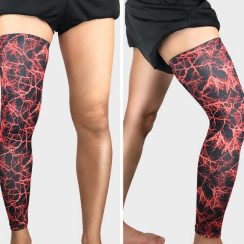 Compression Long Basketball Soccer Leg Sleeve Sports Fitness Calf Guard Knee Pad Anti-UV Running Cycling Leg Warmers Lightning red M single