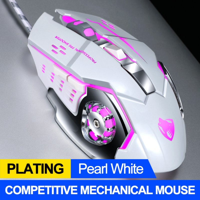Computer Mouse English Edition Mechanical Game Wired Mouse USB Mouse For Desktop Computer Pearl White
