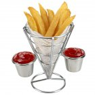Cone Snacks Display Stand Fries Baskets Frying Rack with Cup Double cup