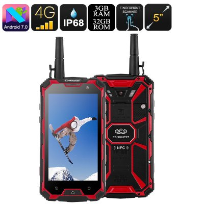 Conquest S8 Rugged Phone 2017 (32GB Red)